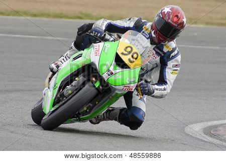 26 Sept 2009; Silverstone England: Rider number 99 David Haire GBR riding for Jx Fuelcards Kawasaki during the free practice session of the British Superbike Championship: