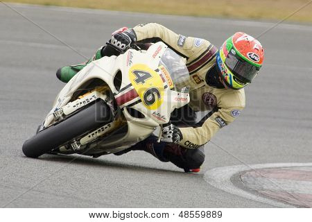 26 Sept 2009; Silverstone England: Rider number 46 Tommy Bridewell GBR riding for Team NB  during the free practice session of the British Superbike Championship: