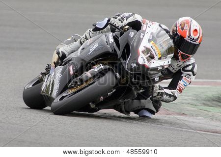 26 Sept 2009; Silverstone England: Rider number 11 Ian Lowry GBR riding for Relentless Suzuki  during the free practice session of the British Superbike Championship: