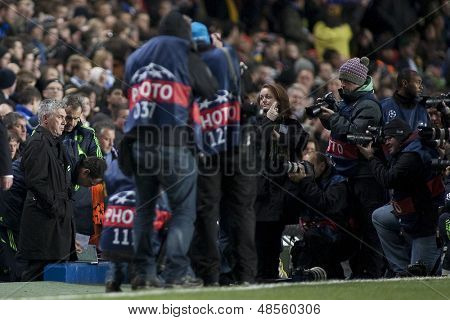 LONDON ENGLAND 23-11-2010. Chelsea's manager Carlo Ancelotti surrounded by photographers before the UEFA Champions League group stage match between Chelsea FC and MSK Zilina