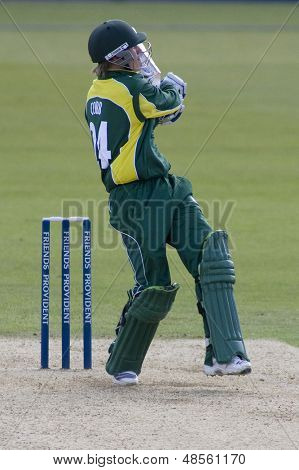 May 03 2009; Southampton Hampshire, J Cobb hits the ball to a fielder and is out, competing in Friends Provident trophy 1 day cricket match between Hampshire and Leicestershire played at the Rose Bowl