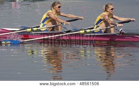 MONTEMOR-O-VELHO, PORTUGAL 11/09/2010. Swedish team, RADSTROEM Karin LILJA Cecilia,, competing in the Lightweight Women's Double Sculls at the 2010 European Rowing Championships
