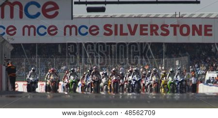 27 Sept 2009; Silverstone England:  riders line up for the start of race 1 of round 11,  at the MCE Insurance British Superbike Championship: