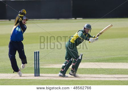 May 03 2009; Southampton Hampshire, M Boyce   steers a ball past wicketkeeper Burrows  competing in Friends Provident trophy 1 day cricket match played at the Rose Bowl.
