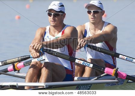 MONTEMOR-O-VELHO, PORTUGAL 10/09/2010. French team, BERREST Cedric BAHAIN Julien,  competing in the men's Double Sculls at the 2010 European Rowing Championships held at the aquatic centre