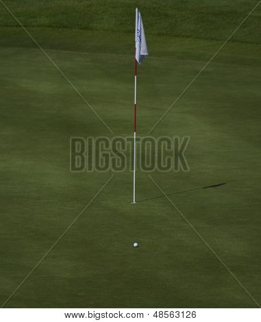 SAINT-OMER, FRANCE. 16-06-2010, A ball on the putting green of hole 12 at the European Tour, 14th Open de Saint-Omer, part of the Race to Dubai tournament and played at the AA Saint-Omer Golf Club .