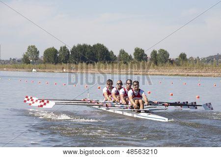 MONTEMOR-O-VELHO, PORTUGAL 10/09/2010. Croatian team, SAIN David SINKOVIC Martin MARTIN Damir SINKOVIC Valent, competing in the Men's Quadruple Sculls at the 2010 European Rowing Championships