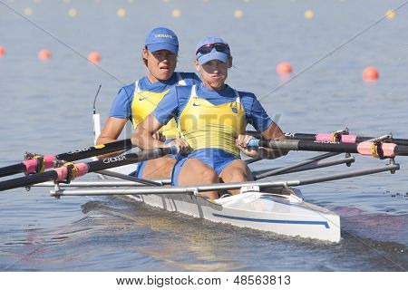 MONTEMOR-O-VELHO, PORTUGAL 10/09/2010. Ukrainian team, OLEFIRENKO Olena LIALCHUK Nataliia competing in the Women's Double Sculls at the 2010 European Rowing Championships held at the aquatic centre
