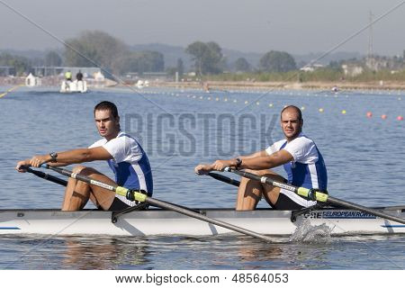 MONTEMOR-O-VELHO, PORTUGAL 10/09/2010. Greek team, TZANINIS Vasileios DOUFLIAS Konstantinos competing in the men's Double Sculls at the 2010 European Rowing Championships held at the aquatic centre