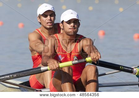 MONTEMOR-O-VELHO, PORTUGAL 10/09/2010. SIGURBJOENSSON BENET Alexander (ESP) VELA MAGGI Pau (ESP) competing in the mens doubles at the 2010 European Rowing Championships held at the aquatic centre