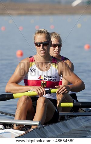 MONTEMOR-O-VELHO, PORTUGAL 10/09/2010. German team, HARTMANN Kerstin SINNIG Marlene,  competing in the womens double at the 2010 European Rowing Championships held at the aquatic centre