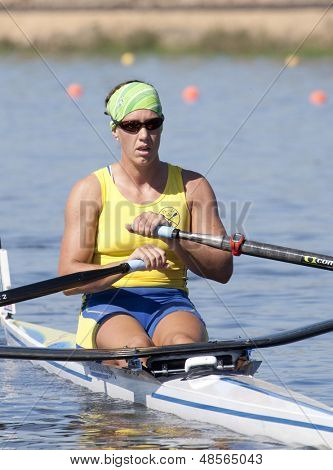 MONTEMOR-O-VELHO, PORTUGAL 10/09/2010. SVENSSON Frida (SWE) competing in the Women's Single Sculls at the 2010 European Rowing Championships held at the aquatic centre, Montemor-o-Velho, Portugal.