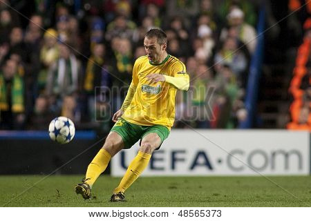 LONDON ENGLAND 23-11-2010. MSK Zilina's defender Jozef Pia���ek in action during the UEFA Champions League group stage match between Chelsea FC and MSK Zilina