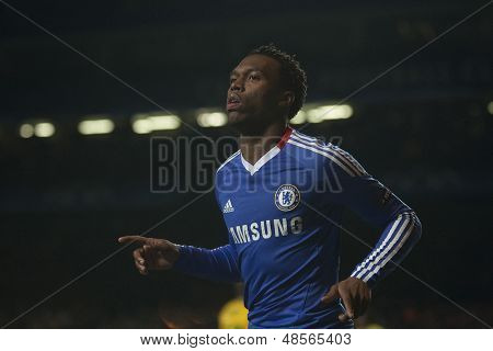 LONDON ENGLAND 23-11-2010. Chelsea's forward Daniel Sturridge celebrates scoring during the UEFA Champions League group stage match between Chelsea FC and MSK Zilina