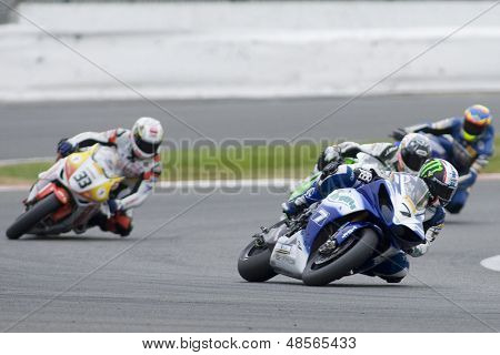 27 Sept 2009; Silverstone England: Rider number 7 James Ellison (GBR) riding for Airwaves Yamaha leading the 2 of round 11,  at the MCE Insurance British Superbike Championship