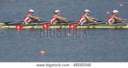 MONTEMOR-O-VELHO, PORTUGAL 11/09/2010. NAUNHEIM Regina FIECHTER Nora HAUSER Katja ERNST Martina, competing in the Women's Quadruple Sculls at  the 2010 European Rowing Championships