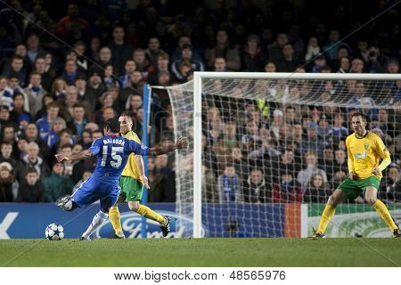 LONDON ENGLAND 23-11-2010. Chelsea's midfielder Florent Malouda takes a shot at goal during the UEFA Champions League group stage match between Chelsea FC and MSK Zilina