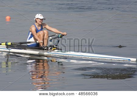 MONTEMOR-O-VELHO, PORTUGAL 11/09/2010. VARVIO Ulla (FIN), competing in the Women's Single Sculls at  the 2010 European Rowing Championships held at the Aquatic Centre, Montemor-o-Velho, Portugal.