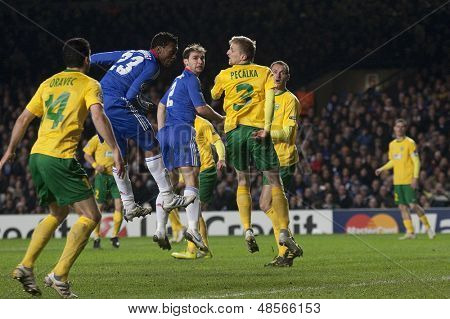 LONDON ENGLAND 23-11-2010.Chelsea's forward Daniel Sturridge heads the ball towards the goal during the UEFA Champions League group stage match between Chelsea FC and MSK Zilina