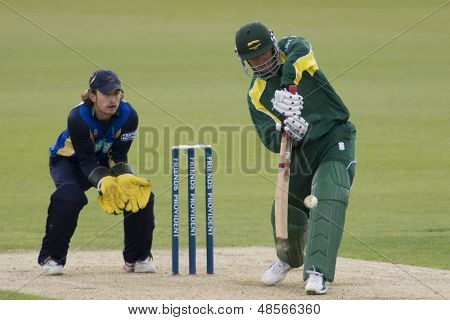 May 03 2009; Southampton Hampshire H Dippenaar hits the ball watched by T Burrows competing in Friends Provident trophy 1 day cricket match between Hampshire and Leicestershire played at the Rose Bowl