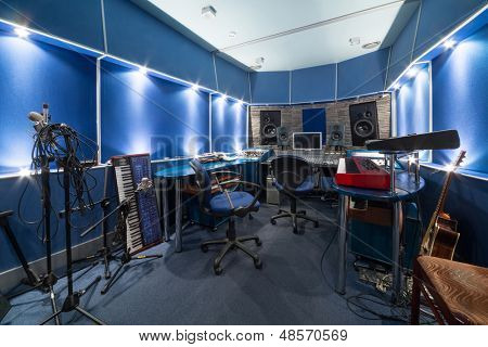 MOSCOW - DEC 25: Control room with music equipment in Recording Studio Nautilus on December 25, 2012 in Moscow, Russia.