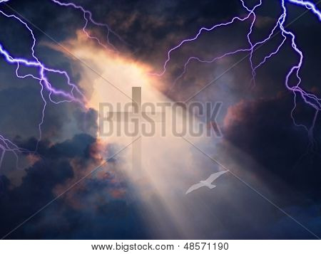 Lightning Strikes while cross is revealed in sunlight streaming