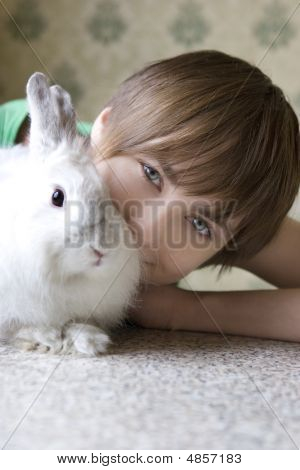 Young Woman With Rabbit