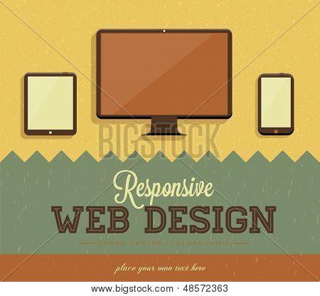 Responsive web design, vintage paper background design. Retro vector icons.