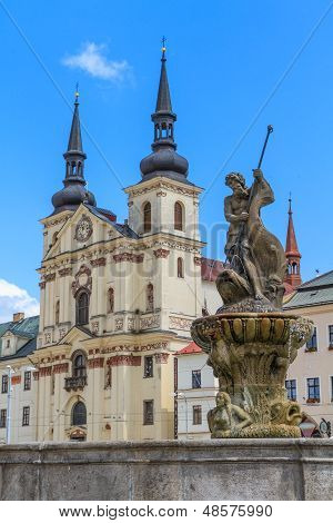 Jihlava (iglau) Main (masaryk) Square With Saint Ignatius Church, Moravia, Czech Republic
