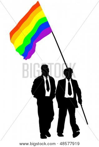 Vector drawing of a gay rainbow flag. Property release is attached to the file