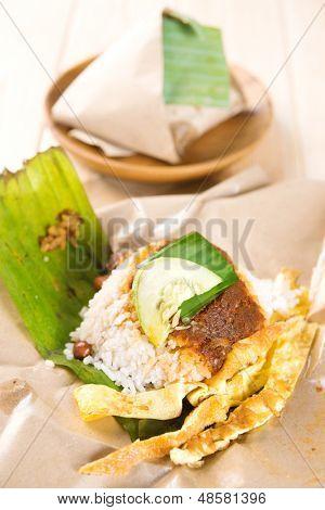 Nasi lemak (Malaysia National Dish) Asian food.