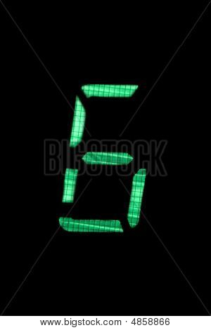 Digital Number Six In Green On Black Background