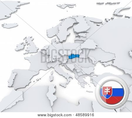 Slovakia On Map Of Europe