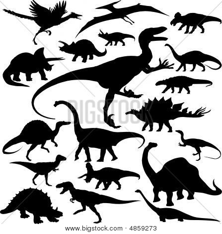 Detailed Vectoral Dinosaur Silhouettes.