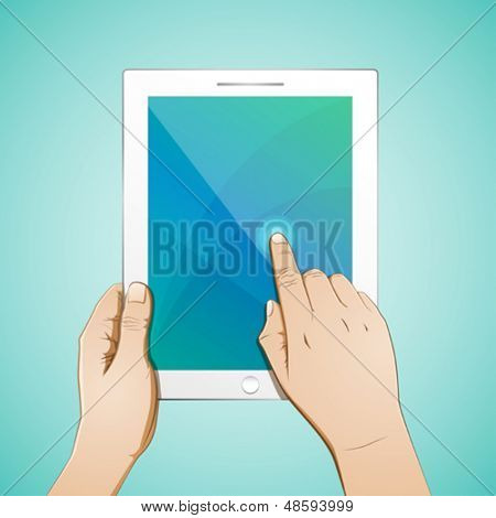 Hand Touching a 10 inch Tablet