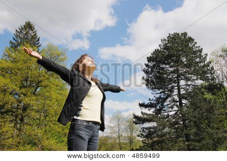 Woman Enjoys Life Outdoors