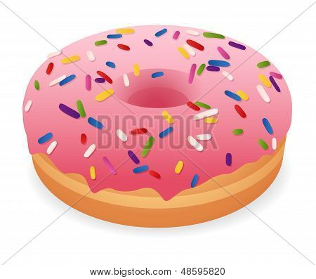 Isolated pink donut