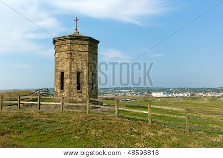 Tower on hill overlooking Bude Cornwell