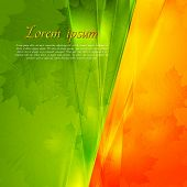 Green and orange seasonal background. Vector autumn design eps 10 poster