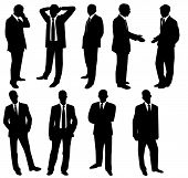 Collection of businessmen over white. A vector illustration poster