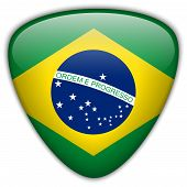 Vector - Brazil Flag Glossy Button Country poster