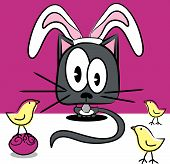 Vector holiday Easter cat in bunny ears with Easter chicks and decorated eggs. poster