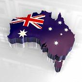 flag map of australia - 3d made poster