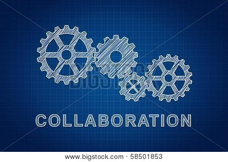 Collaboration Concept. Technical Drawing Of Gears, The Idea Of Teamwork And Success.