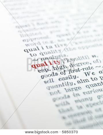 The word quality highlighted in a dictionary