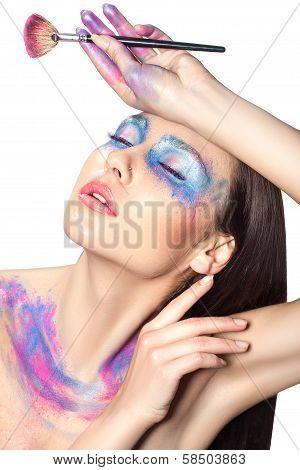 Girl With Makeup Brush Made