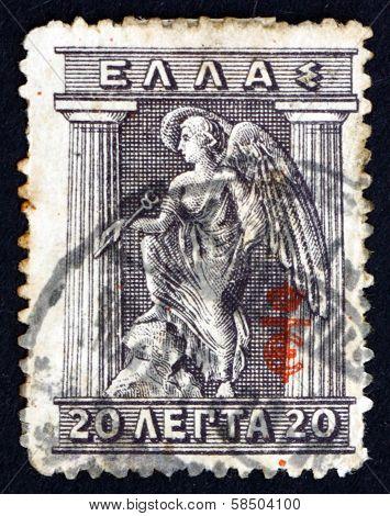 Postage Stamp Greece 1913 Iris Holding Caduceus