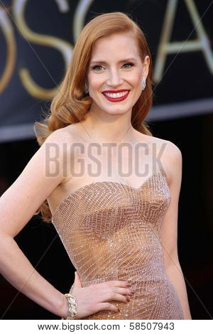Jessica Chastain at the 85th Annual Academy Awards Arrivals, Dolby Theater, Hollywood, CA 02-24-13