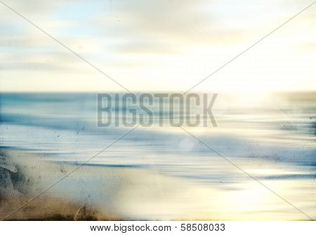 An abstract sea seascape with old paper blurred panning motion poster