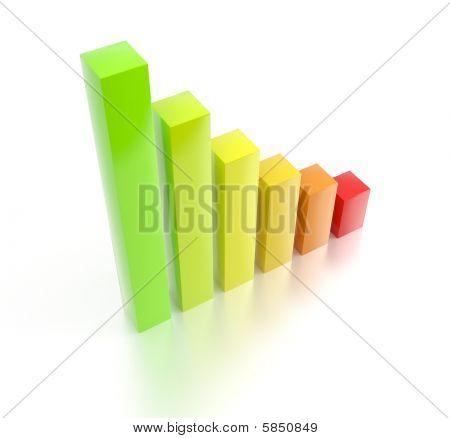 Colorful rising 3d bar chart